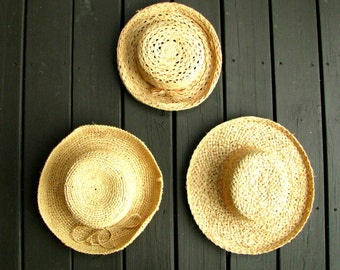 Vintage Straw Hats Instant Collection     Summer Beach Cottage Wall Hanging    Farmhouse Home Decor    Prairie