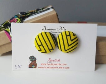 Yellow button earrings, Fabric button earrings, Gifts for her, Gifts for women, Yellow earrings, Fabric earrings, Yellow fabric earrings