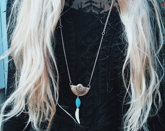 Western Shield and Coyote Tooth Necklace