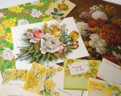 Vintage Yellow Gold Floral Ephemera Paper Pack | Flowers Inspiration Scrapbooking Kit