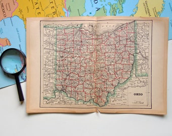 Vintage 1910 Map of Ohio State Antique US Map Ohio Map