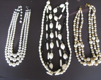 3 Vintage multi strand necklaces