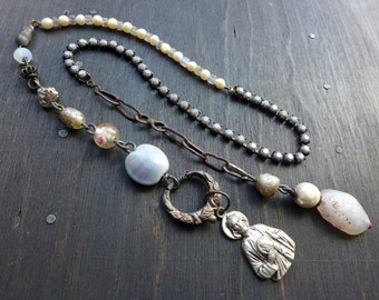 The Mystery. Rustic grey lariat necklace with religious medal.