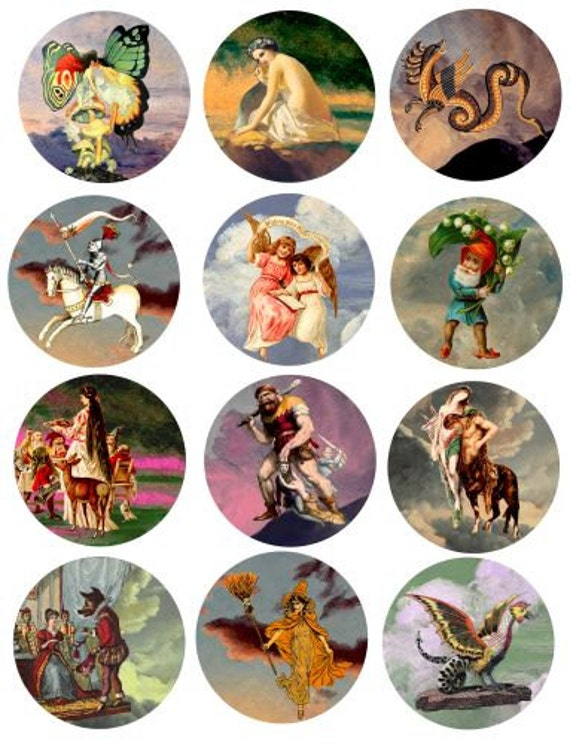 vintage fairytale fable clip art digital download collage sheet 2.5 inch circles printable graphics images scrapbooking pins buttons tags