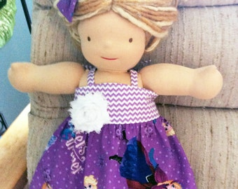 Frozen doll dress and hair clip set, matching girl skirt available, any doll size, Waldorf doll clothes, 18 inch girl doll clothes baby doll