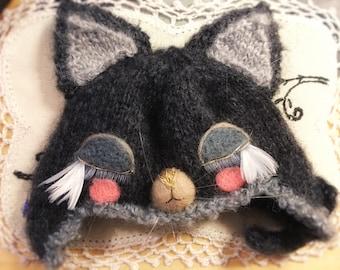 Jiajiadoll- hand knitting Sleeping kitty cat helmet hat fits  Blythe / SD BJD Jerryberry YOSD imda
