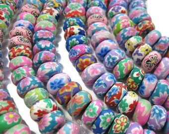 12mm Rondelle Polymer Clay Floral Beads Assorted Colors Set of 50 Beads
