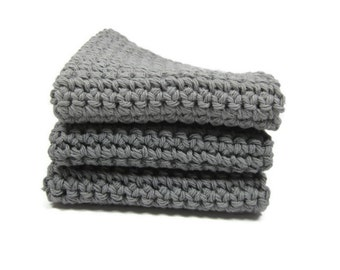 Gray Crochet Cotton Dish Cloth Wash Cloth Set of Three