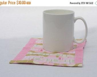 Winter Clearance Mug rug, pink mug rug