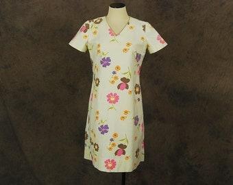vintage 60s Dress - 1960s Mod Floral Shift Dress Sz L