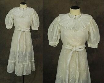 vintage 30s Sheer Cotton Dress - Sheer Floral Tea Dress Bridal Dress 1930s Wedding Gown Sz XS