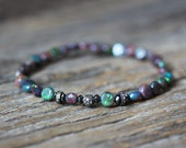 Ethiopian Opal, Black Diamond and Pave Delicate Stacking Bracelet / Bohochic Bohemian Colorful Bracelet, Beaded Bracelet, October Birthstone