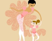 """8X10"""" Ballerina Mother and Daughter giclee print on fine art paper. Pink, gold/champagne, with tan and ivory skin tones"""