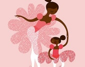 """SPRING SALE ballerina mother and daughtersisters. african american/latina pink. 8X10"""" giclee print on fine art paper"""