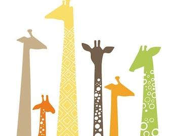 "SHOPWIDE SALE 16X20"" modern giraffe silhouettes giclée print on fine art paper. green, orange, tan, brown, yellow."