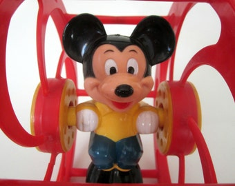 Mickey Mouse Red Rolling Toy  Disney Toddler Roly Poly Rattle Wheels Preschool