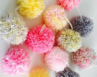 Pom Pom garland - handmade 10 yarn bobble Pom poms, pinks, grey yellow and Ivory 4ft or 1.2m