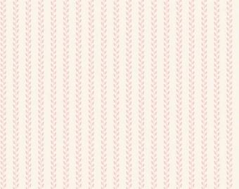 Tilda Fabric, Tilda Leaf Garland Pink Fat Quarter, All That is Spring Collection, Pure Cotton Fabric, Fat Quarter, 50 cm x 55 cm