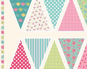 Tea Party Bunting Cotton Fabric by Makower from their Tea Party Collection, DIY Bunting Panel Tea and Cakes Fabric, per bunting panel