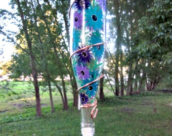 Hummingbird Feeder,  Recycled Clear Wine Bottle, Hand Painted with Turquoise and Purple Flowers, Bird Feeder, Wrapped in Copper Wire