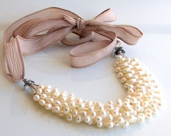 On Sale Ivory White Pearl Bib Thick Cluster on Artisan Silk Ribbon, White Pearl Necklace, Pearls and Silk, Deluxe Gift For Her