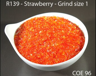 Strawberry Transparent Lampwork Frit Grind size 1 COE 96 - 1 ounce