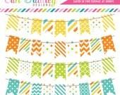 Digital Bunting Clipart Graphics Yellow Orange Green & Blue Commercial Use Clip Art Polka Dots Chevron Stripes