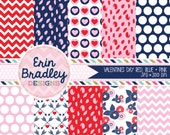 Valentines Day Digital Paper Pack Red Blue & Pink Patterns Commercial Use Digital Papers