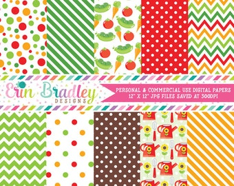 Garden Digital Paper Pack with Veggies Vegetables Polka Dots Chevron and Stripes Red Green Orange Brown Commercial Use Graphics