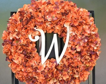 FALL WREATH SALE Fall Wreath Monogram Orange Hydrangea Wreath Fall Monogram Wreath, Orange Hydrangea Wreath, Autumn Decor Thanksgiving Decor