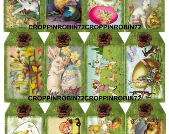 12 Easter Bunny Vintage Replica (59-E) Scrapbook Card Embellishments Hang Gift Tags