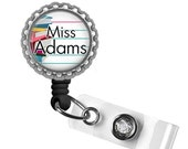ON SALE - Personalized Teacher Retractable ID Badge Reel - Gifts for Teachers, Teacher Lanyard, Thank You Gift, Back to School, Teacher Badg