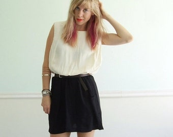 extra 30% off SALE ... Colorblock Mini Secretary Dress - Vintage 80s - M L - Sleeveless - Black and White