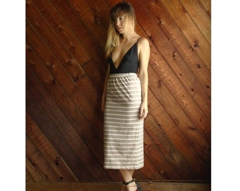 extra 25% off SALE ... 90s Taupe and White Stripe High Waist Mid Calf Bodycon Pencil Skirt - S M