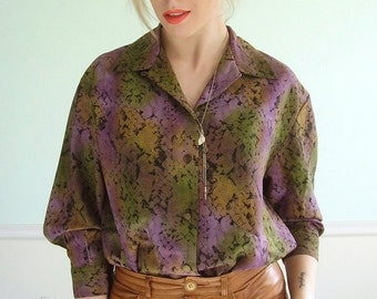 30% off ... Snake Printed Vintage 80s LS Multicolored Gradient Button Down Blouse MEDIUM M