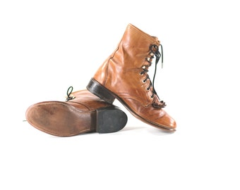 Roper Boots Brown Leather Kiltie Packer Lace Up Distressed Ankle Boots Womens Size 7.5