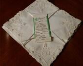 Set of 4 Vintage Unused Madeira Embroidered Keepsake Tea Napkins Original Package