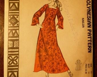 Ladies Pattern NOS Vintage Hawaii 1960s Polynesian Pattern No. 202 Size 12 KAILUA Long Caftan Dress with Long Sleeves Uncut