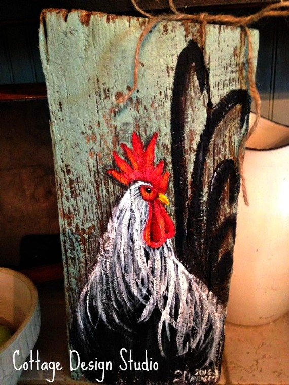 Rustic rooster painting rooster wall decor rooster sign