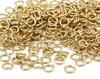 5mm Jump Ring - 500 Raw Brass Jump Rings (5x0.80mm)  A0820
