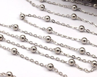 Silver Brass Ball Chain, 5 Meters - 16.5 Feet  (2x4 Mm) Silver Tone Brass Soldered Chain With Balls C54  ( Z0022-2 )