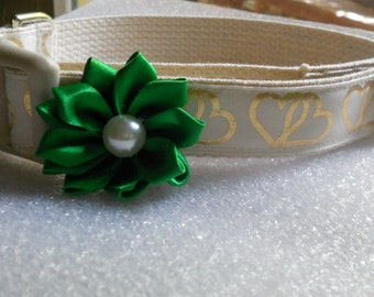 Gold Embossed Ribbon Dog or Puppy Collar, Double Hearts, Wedding Collar, Add Flower Your Choice of Style and Color