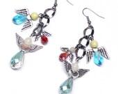 six protection guardian angels gunmetal chain dangle earrings