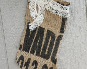 Upcycled Coffee Bag Burlap Christmas Stocking with Lace Bow