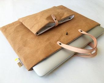 MacBag : Tyvek and kraft paper simple laptop bag/pocket bag/laptop case/laptop sleeve/macbook bag for macbook 13 inch/Electronics Cases