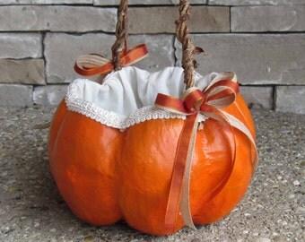Large Orange Pumpkin Basket for your Fall Wedding