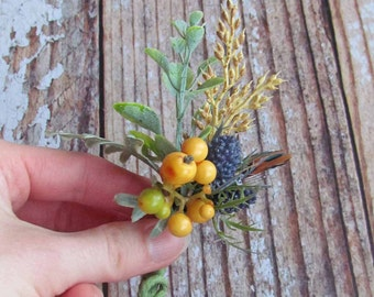 Yellow Berry & Blue Thistle Fall Boutonniere for your Rustic Wedding
