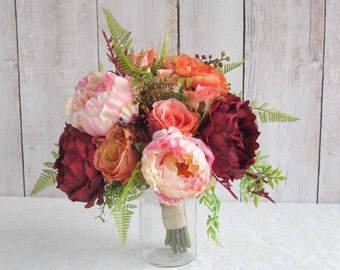 Peony Bridal Bouquet in Oranges, Reds & Pinks for your Wedding, Ready to Ship