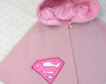 Girl Superhero Capelet - Baby Girl, Cape, Pink, Superman Girl, Clothing