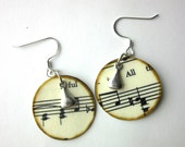 Music earrings, book page earrings, literary earrings, book page jewelry, Joy of Music